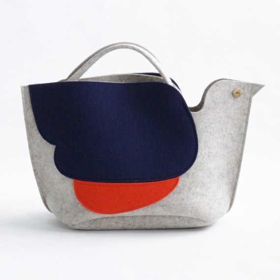 Bird Knitting Bag in Oatmeal Colour