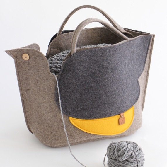 Bird Knitting Bag in Light Brown