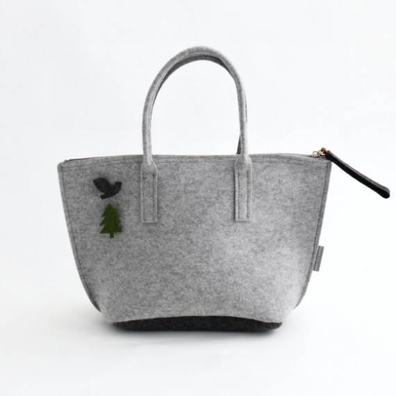 LIGHT GREY Lunch Bag with Water-resistant Inner Bag
