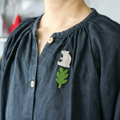 Bear, Rabbit, Tree Pin Brooch Set