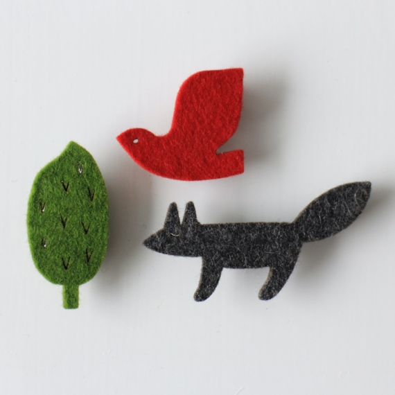 Bird, Fox, Tree Pin Brooch Set