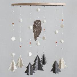 Owl & Trees, Winter Woodland Mobile (Ready to Hang)