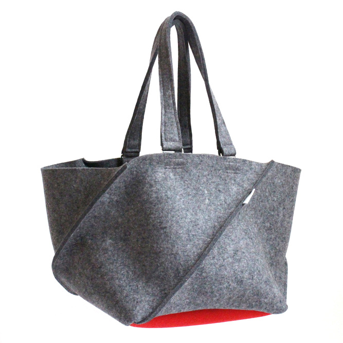 Books and Modern original 2-tone Folding bag by Aika Felt Works