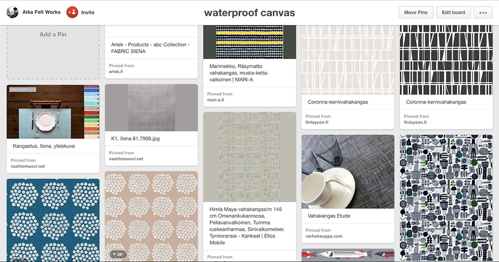 Waterproof canvas on Pinterest by Aika Felt Works