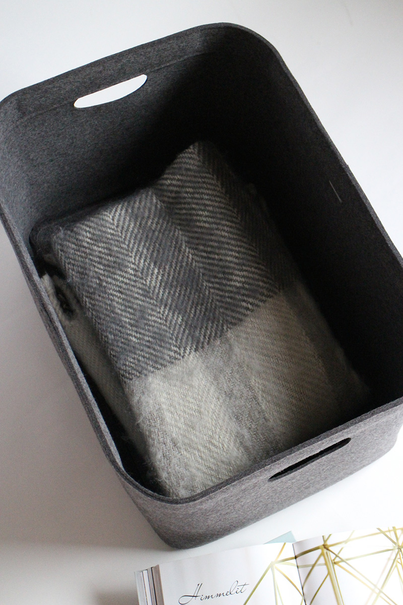 Custom-made, extra large felt storage basket in natural dark grey by Aika Felt Works