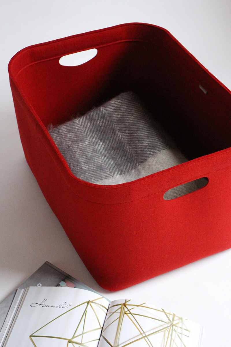 Custom-made, extra large felt storage basket in red by Aika Felt Works
