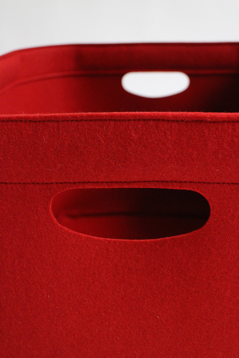 Custom-made, extra large felt storage basket in red by Aika Felt Works, detail